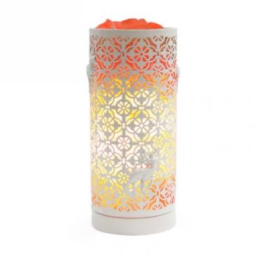 Соляной светильник STAY GOLD лампа-камин белая в форме цилиндра