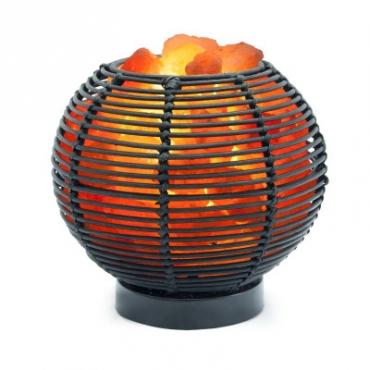 Соляной светильник STAY GOLD лампа-камин из ротанга в форме шара